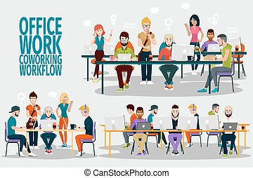 Ofiice work of groupe - Business People Working Office...