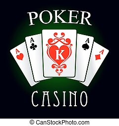 Poker game icon with four aces and king cards - Poker casino...