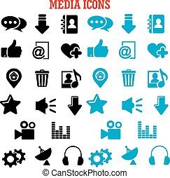 Social media black and blue flat icons set