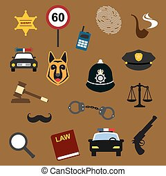Police, law and justice flat icons set - Police, law and...