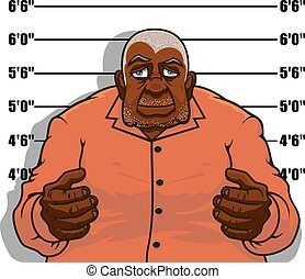 Cartoon gangster man or prisoner - Arrested cartoon african...