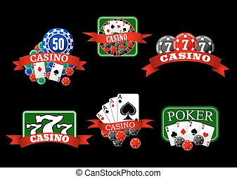 Casino, poker, jackpot and roulette icons