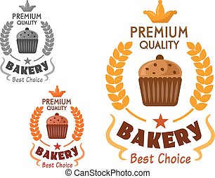 Bakery emblem with cupcake and wheat - Bakery and pastry...