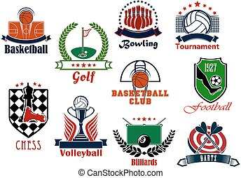 Individual and team sport games icons set with football or...