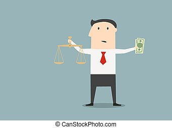 Businessman with justice scales and money - Cartoon confused...