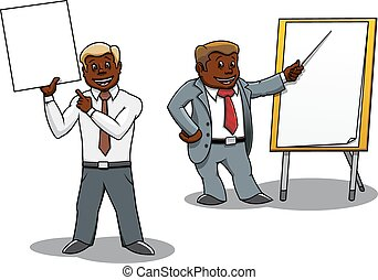 Businessmen making presentation and training - Cartoon...