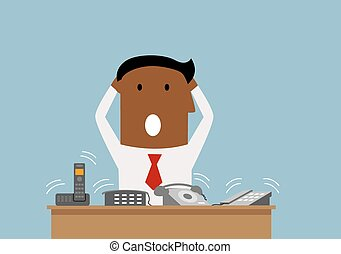 Overworked businessman with many phone calls - Cartoon...