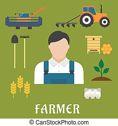 Farmer profession and agriculture flat icons of shovel,...