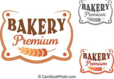 Premium bakery retro signboard with wheat