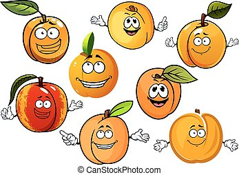 Cartoon peaches, nectarines and apricots fruits - Happy red...