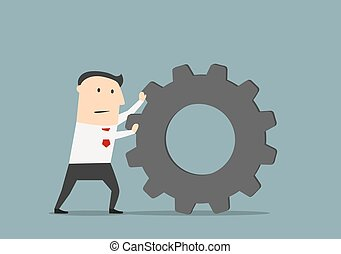 Businessman pushes a huge gear - Tired businessman pushes a...
