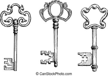 Old antique keys in sketch style - Old antique door keys...