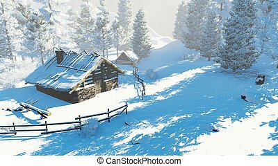 Cozy little hut in a snowy mountains at daytime