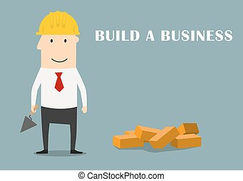 Businessman building a new business