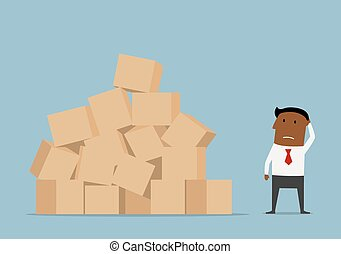 Worried businessman and large pile of boxes - Confused...