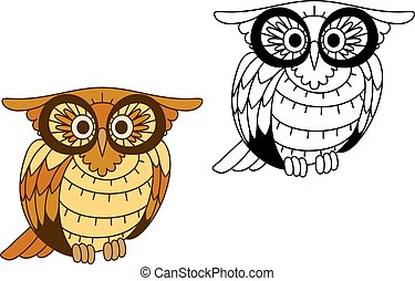Funny creech owl with yellow and brown plumage