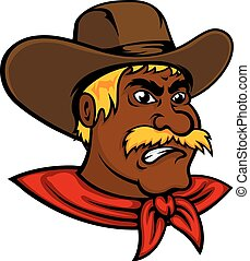Cartoon moustached cowboy with leather hat - Brave cartoon...