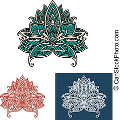 Ornamental turkish paisley flower design elements