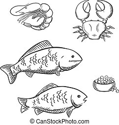 Fish, shrimp, crab and caviar sketches