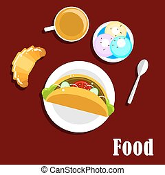Fast food taco, coffee, croissant and ice cream
