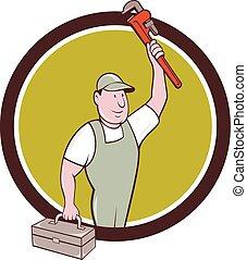 plomero, mono, caricatura, llave inglesa, círculo, caja de herramientas, Levantar