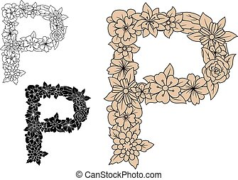 Vintage floral uppercase letter P with elegant flowers and...