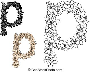 Retro floral small letter p decorated by flowers, buds and...