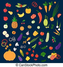 Fresh healthy farm fruits and vegetables icons