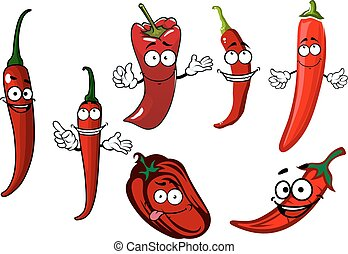 Cartoon red chilli and bell peppers vegetables - Red spicy...
