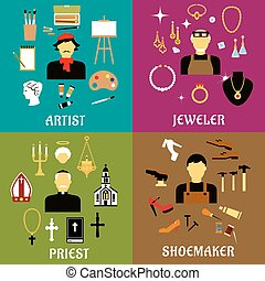 Jeweler, shoemaker, artist and priest professions - Jeweler,...