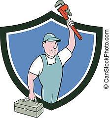 plomero, mono, llave inglesa, caja de herramientas, cresta, caricatura, Levantar