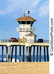 Watchtower on pier - Huntington Beach watchtower on the...