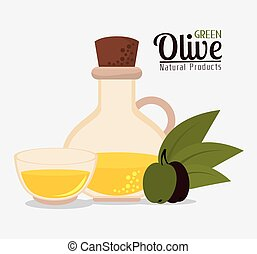 Green olive oil graphic