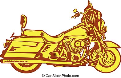 Motorcycle Motorbike Woodcut - Illustration of a motorcycle...