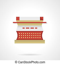 Red type writer flat color vector icon - Red typewriter with...