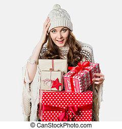 面白い, 概念, 気絶させられた, プレゼント, 保有物, 素晴らしい, 女の子, クリスマス