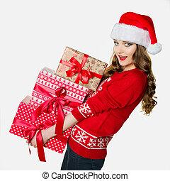 重い, 面白い, 概念, プレゼント, 女, 保有物, 素晴らしい, 荷を積む, クリスマス