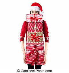 面白い, 概念, プレゼント, 女, 保有物, 素晴らしい, 荷を積む, クリスマス