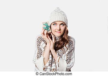 概念, 保有物, ごく小さい, プレゼント, 女, 好奇心, 素晴らしい, クリスマス