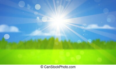 sunrays on blurred landscape background seamless loop -...