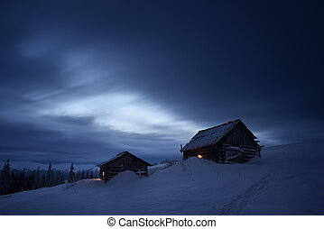 Night landscape in mountain village - Night landscape in the...