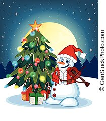 Snowman With Santa Claus Costume