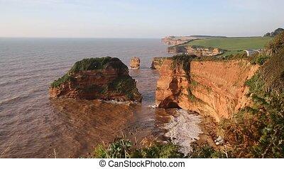Red sandstone rock stacks UK