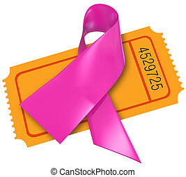 Pink Breast Cancer Ribbon Fund Raiser Ticket Charity - Pink...