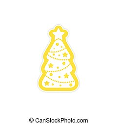 paper sticker on white background ?ristmas tree