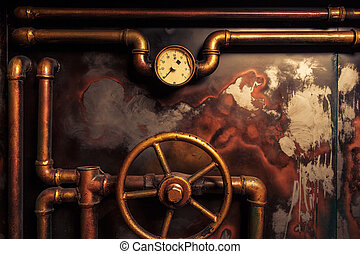 background vintage steampunk from steam pipes and pressure...