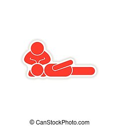 paper sticker first aid on white background