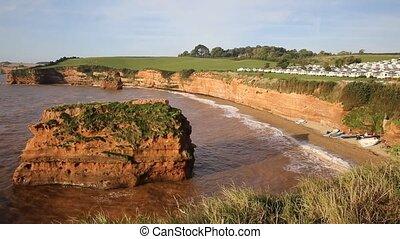 Ladram Bay beach Devon rock stack - Ladram Bay beach Devon...