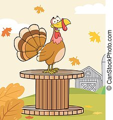 Funny Turkey Bird Character - Funny Turkey Bird Cartoon...