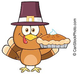 Pilgrim Turkey Bird Holding A Pie